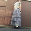 アラフォーでも着れるギンガムチェックのロングスカート。